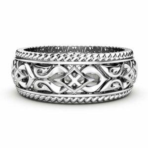 Mens Wedding Band 14K White Gold Ring Unique Wedding Ring