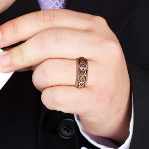 Mens Wedding Band Rose Gold Wedding Band Unique Wedding Jewelry