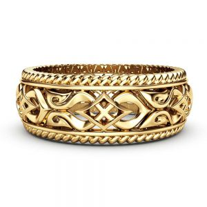 Mens Wedding Band Gold Wedding Ring Unique Wedding Ring