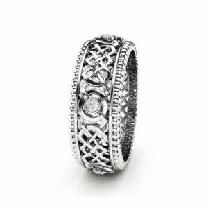 Diamond Wedding Band Art Deco Wedding Ring Gold Wedding Ring