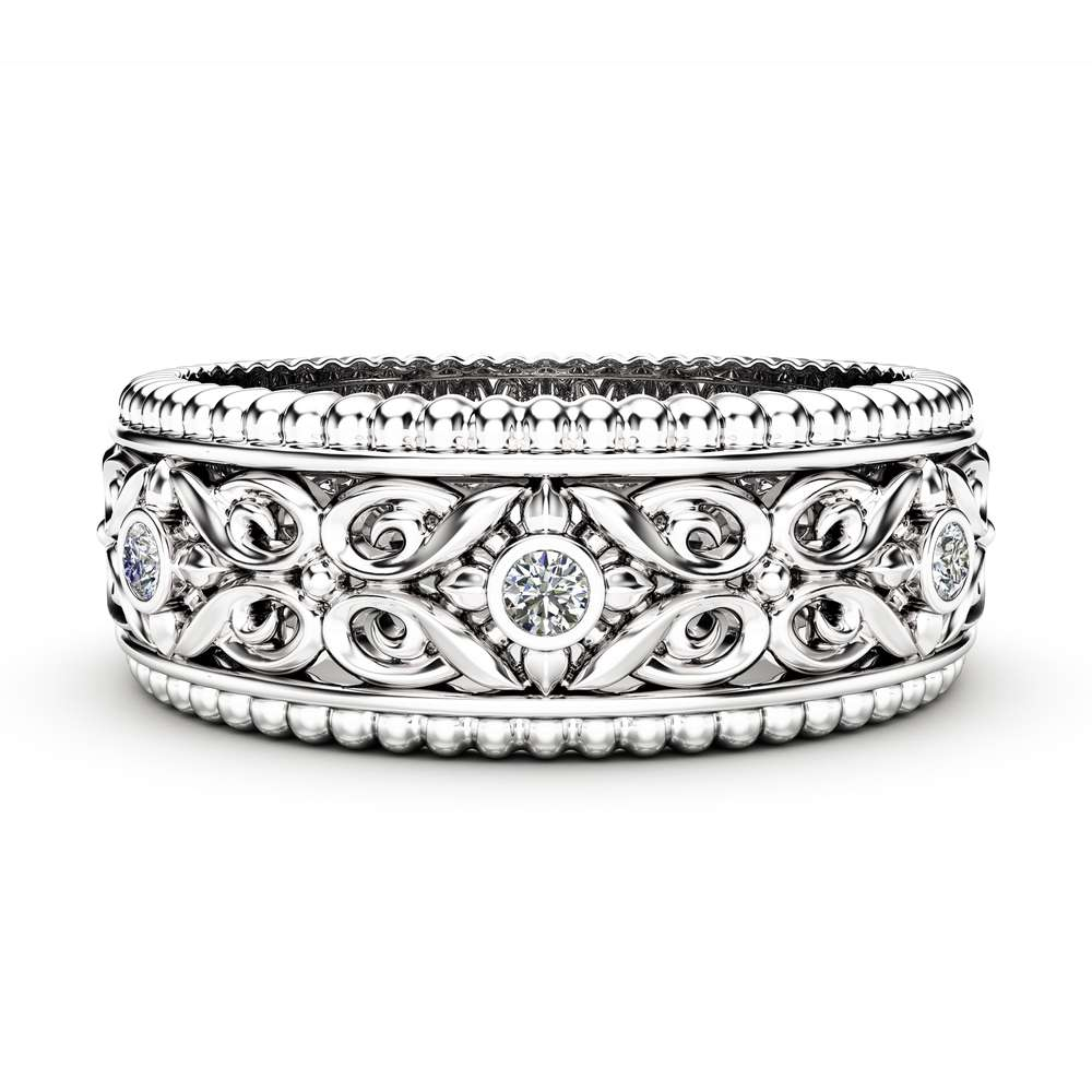 Diamond Wedding Ring 14K White Gold Ring Art Deco Wedding Bands