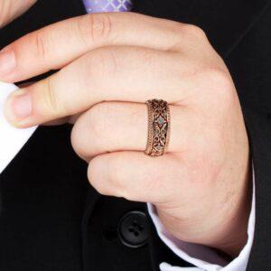 Diamond Wedding Ring Rose Gold Wedding Band Art Deco Wedding Band
