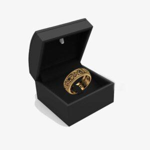 Black Diamonds Wedding Ring Gold Wedding Band Art Deco Wedding Band