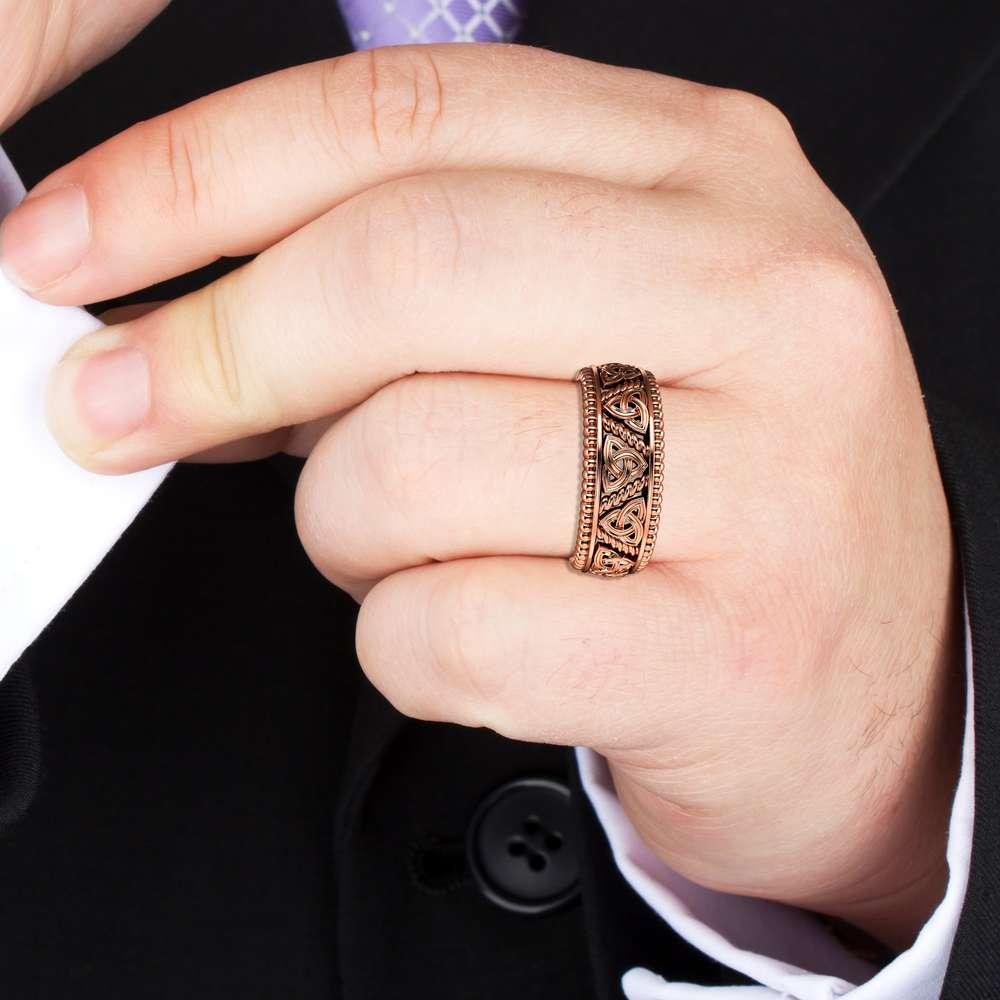 Mens Wedding Band Rose Gold Wedding Band Celitc Wedding Ring