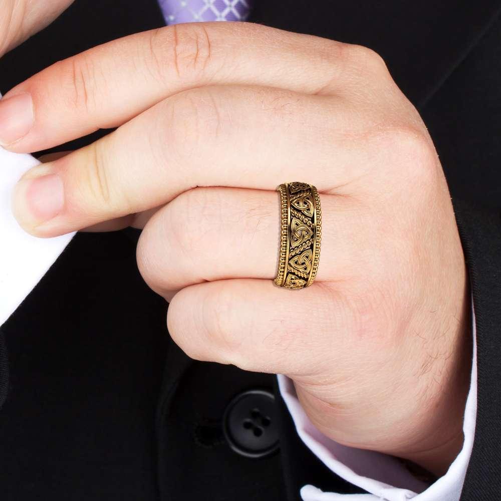 Mens Wedding Band Gold Wedding Band Celitc Wedding Ring