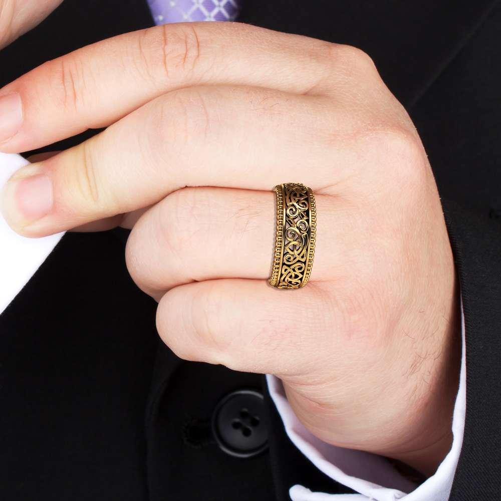 Men's Wedding Band Gold Wedding Band 14K Yellow Gold Ring