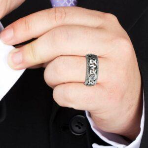 Diamond Wedding Ring 14K White Gold Ring Celtic Wedding Band Wedding Jewelry