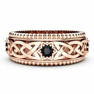 Black Diamonds Wedding Ring 14K Rose Gold Ring Celtic Wedding Band