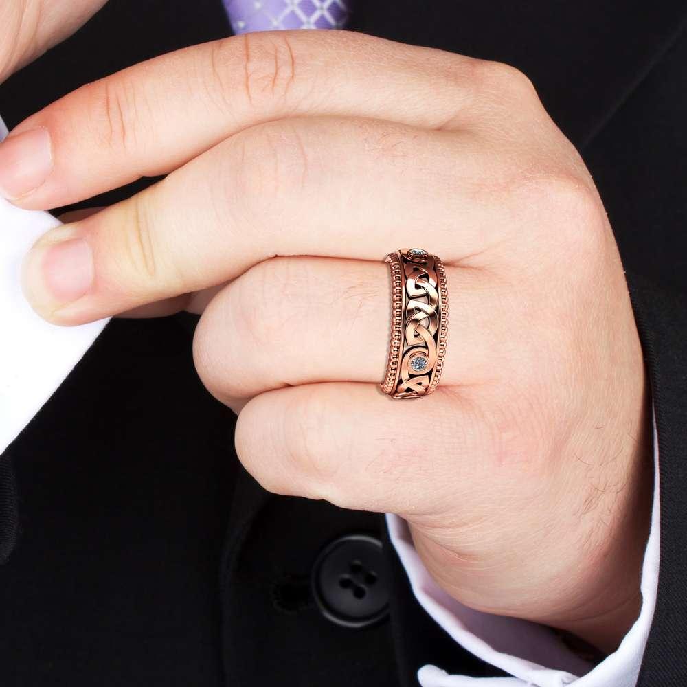 Diamond Wedding Ring 14K Rose Gold Ring Celtic Wedding Band