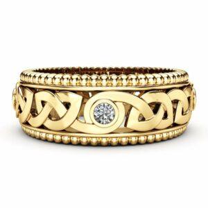 Men's Diamond Wedding Ring 14K Yellow Gold Ring Celtic Wedding Band