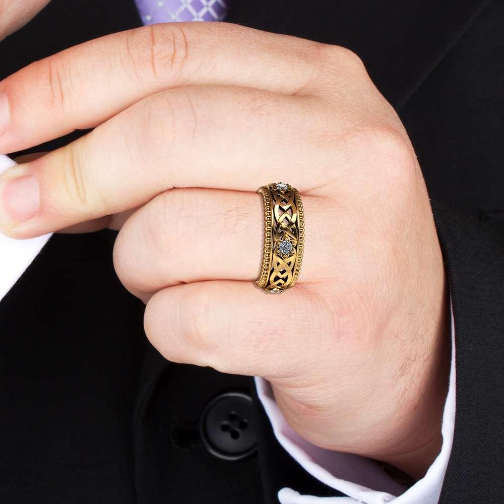 Diamond Wedding Ring 14K Yellow Gold Ring Celtic Wedding Band