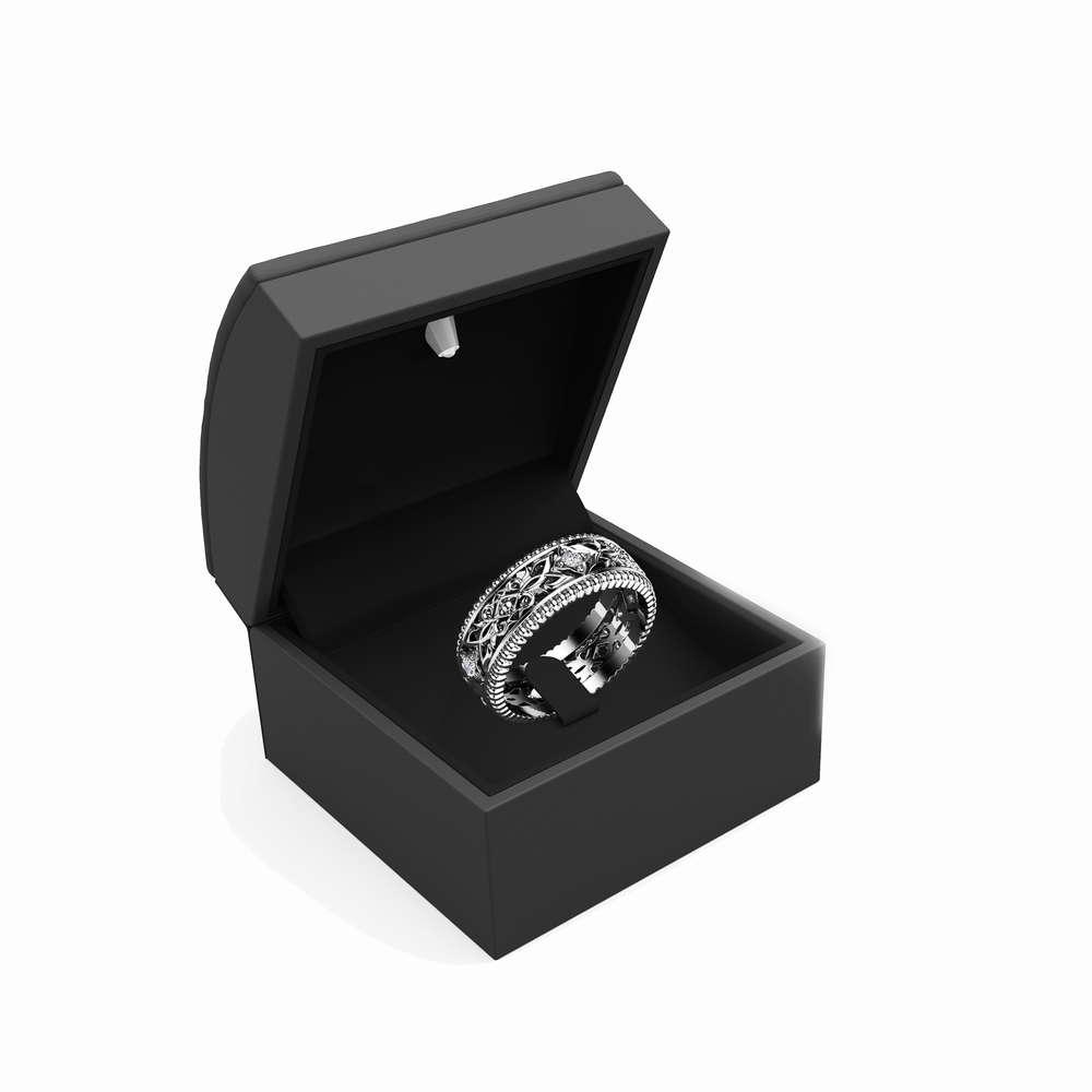 Diamond Wedding Ring 14K White Gold Ring Unique Wedding Band
