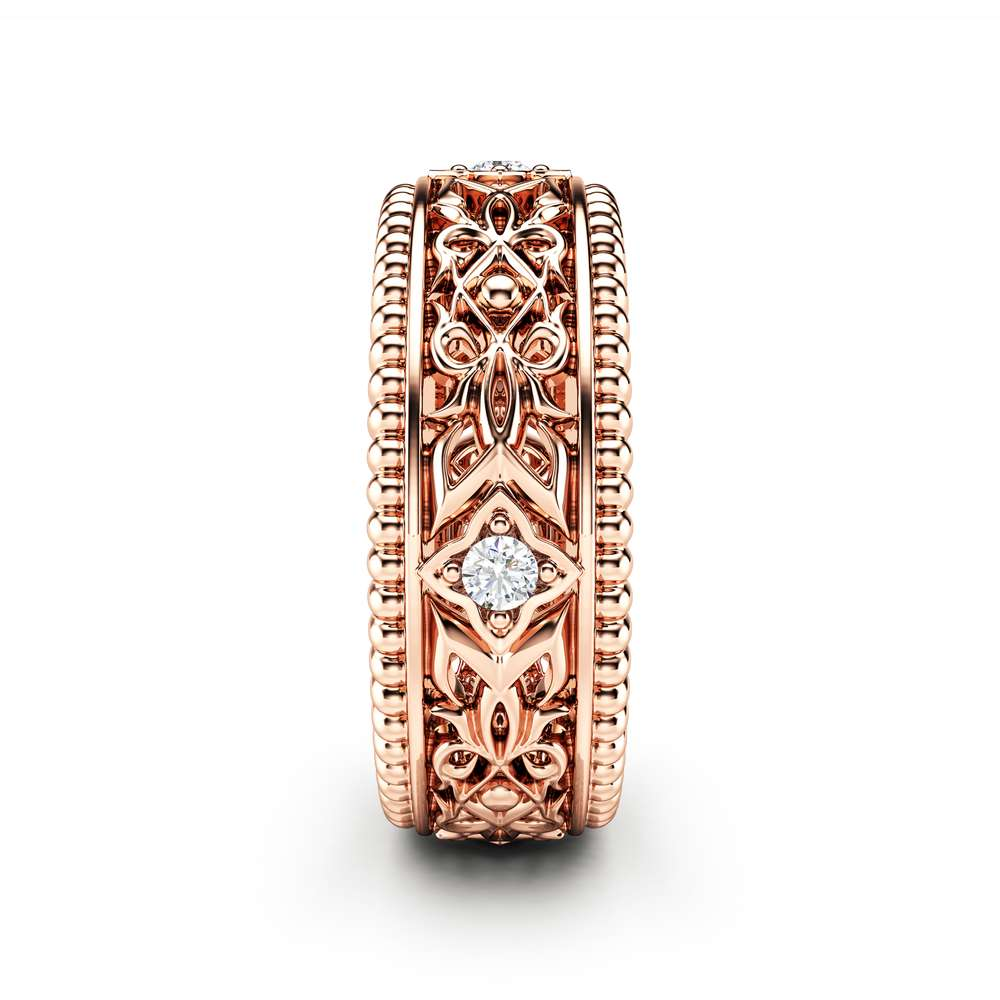 Diamond Wedding Ring 14K Rose Gold Ring Unique Wedding Band