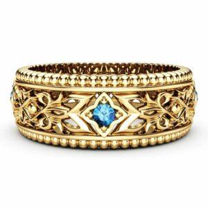 Blue Diamond Wedding Ring 14K Yellow Gold Ring Unique Wedding Band