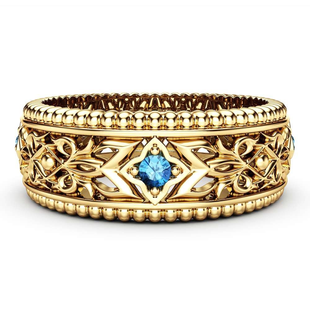 Blue Diamond Wedding Ring 14K Yellow Gold Ring Unique Wedding Band