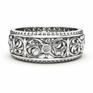 Diamond Wedding Ring 14K White Gold Ring Mens Wedding Band