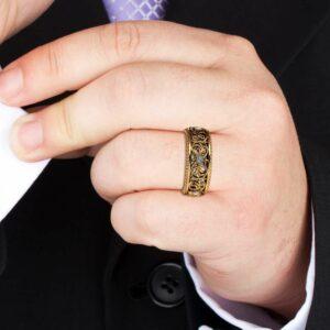 Diamond Wedding Ring 14K Yelloow Gold Ring Mens Wedding Band