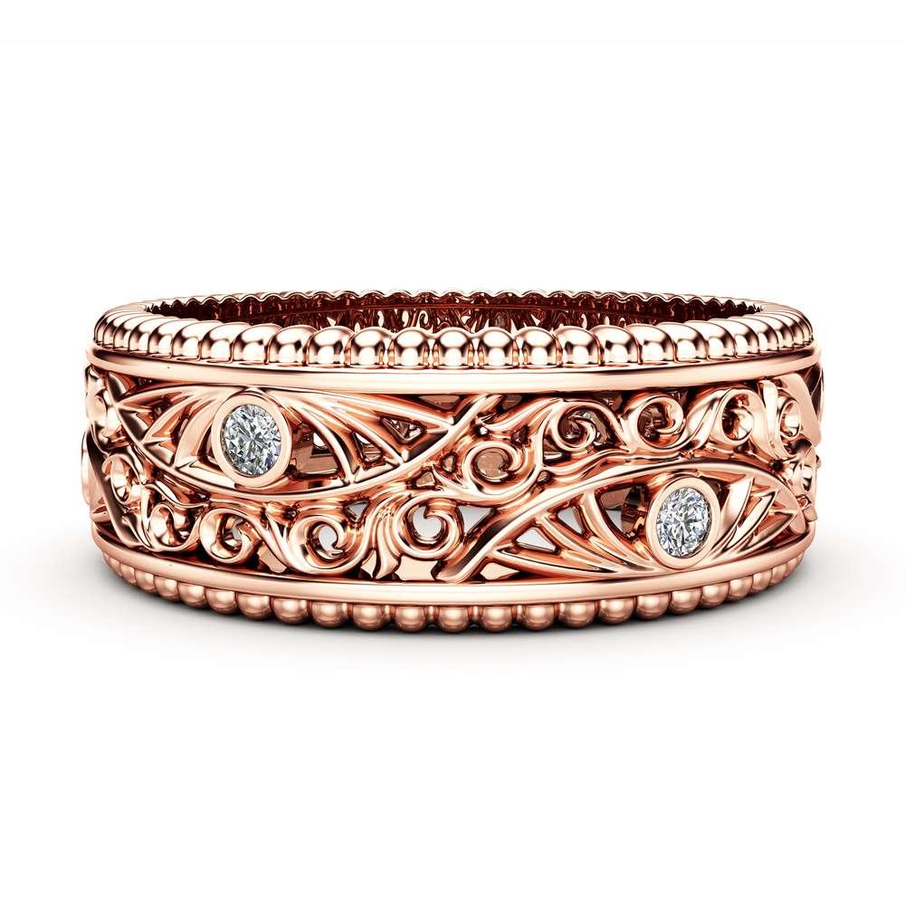 Diamond Wedding Ring 14K Rose Gold Ring Vintage Style Wedding Band