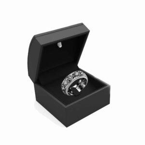 Diamond Wedding Ring 14K White Gold Ring Art Deco Wedding Band