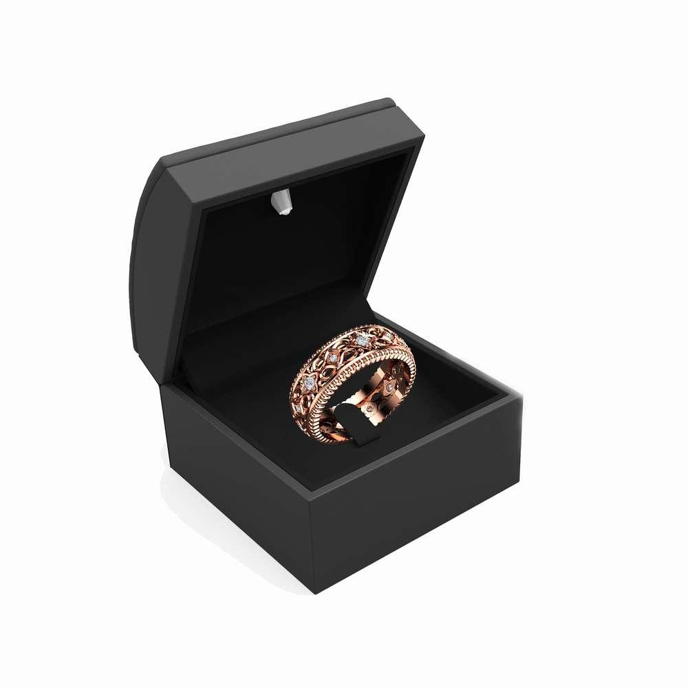 Diamond Wedding Ring 14K Rose Gold Ring Art Deco Wedding Band