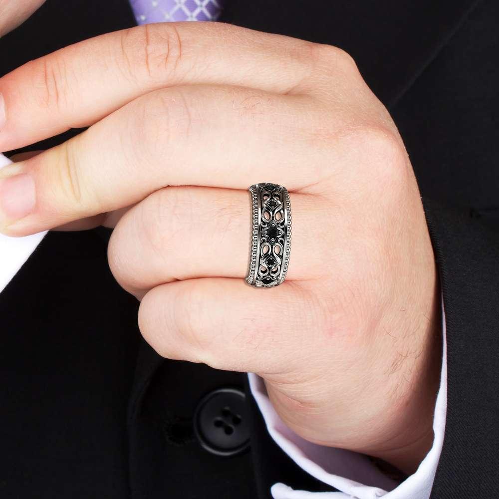Black Diamond Wedding Ring 14K Yellow Gold Ring Art Deco Wedding Band