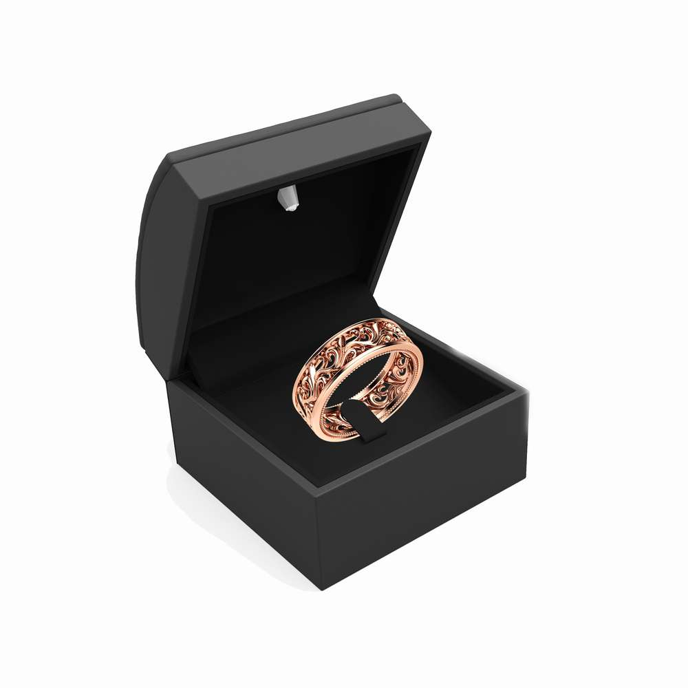 Gold Wedding Band 14K Rose Gold Ring Mens Wedding Band
