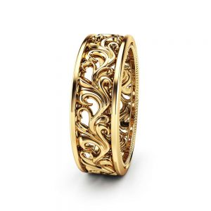 Gold Wedding Band 14K Yellow Gold Ring Mens Wedding Band