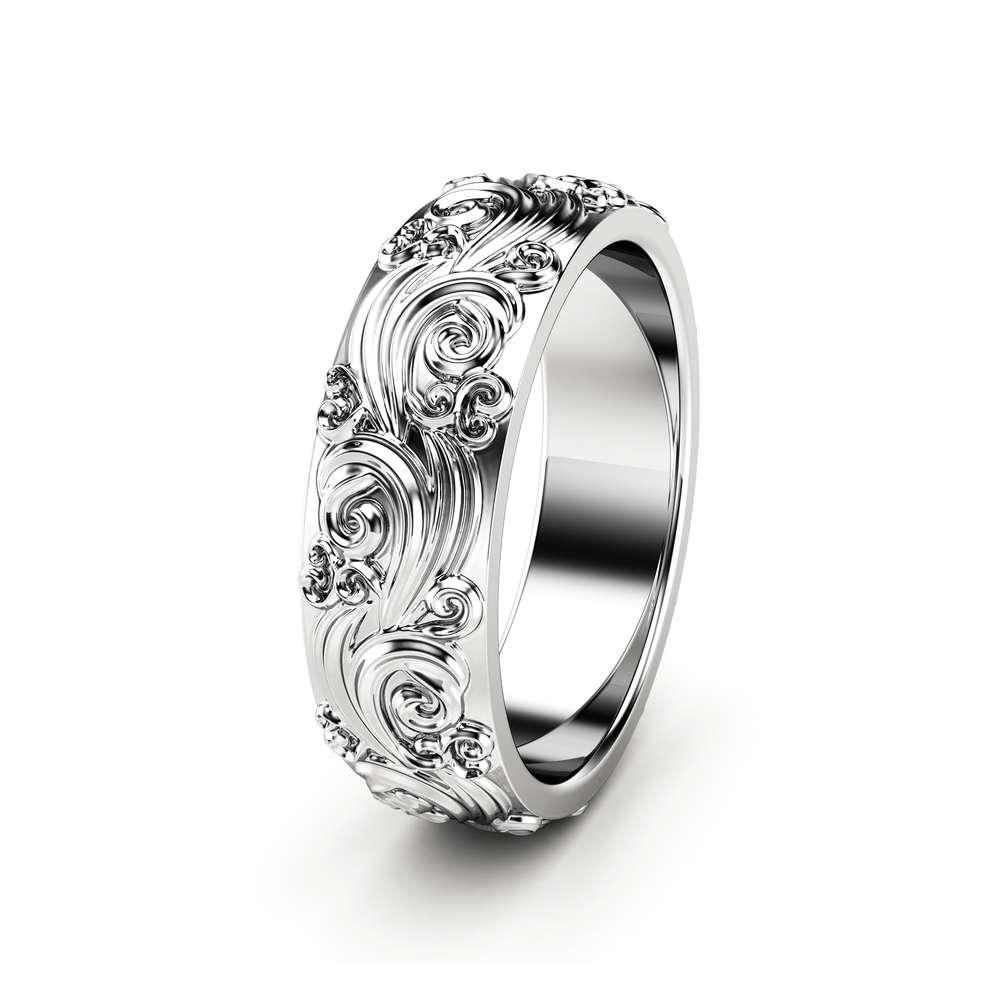 Mens Wedding Band Gold Wedding Band Unique Wedding Ring