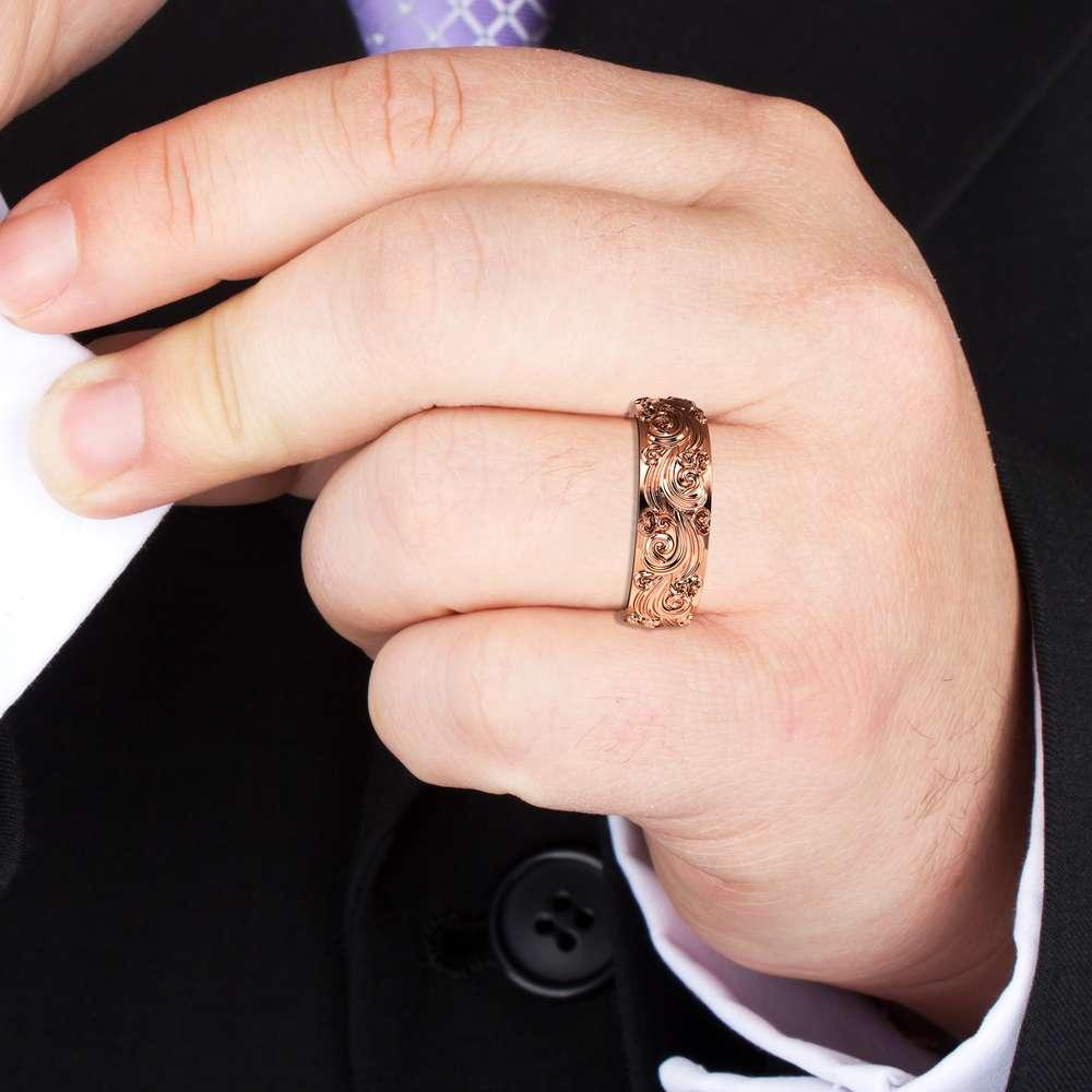 Mens Wedding Band Rose Gold Wedding Band Unique Wedding Ring