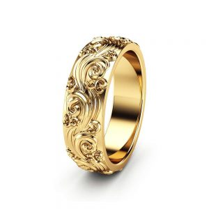 Gold Wedding Band Mens Wedding Band Unique Wedding Ring