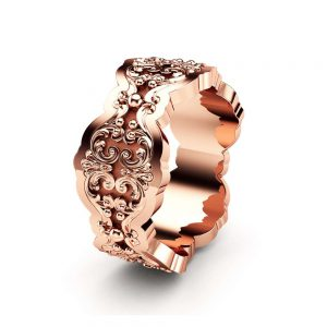 Mens Wedding Ring Rose Gold Wedding Band Art Deco Wedding Band