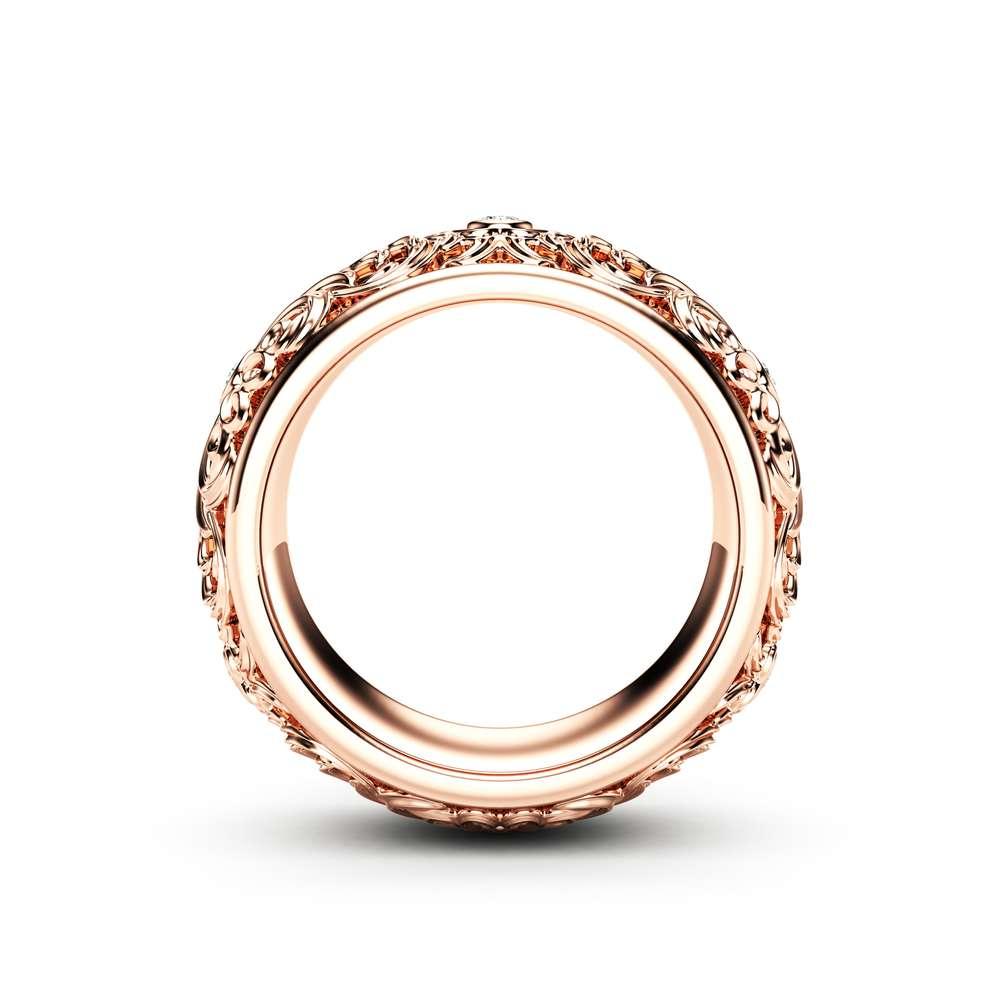 Diamond Wedding Ring Rose Gold Wedding Band Filigree Wedding Band