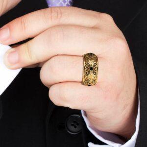 Black Diamond Wedding Band Gold Wedding Band Filigree Wedding Band
