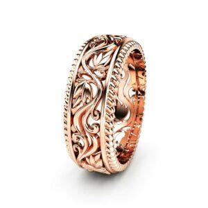 Women Wedding Band Unique Wedding Ring Rose Gold Wedding Ring