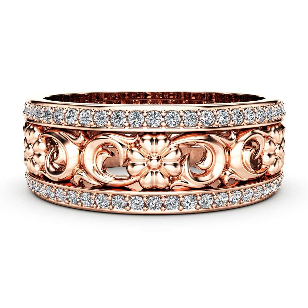 Rose Gold Wedding Band Women Wedding Band Diamond Wedding Ring