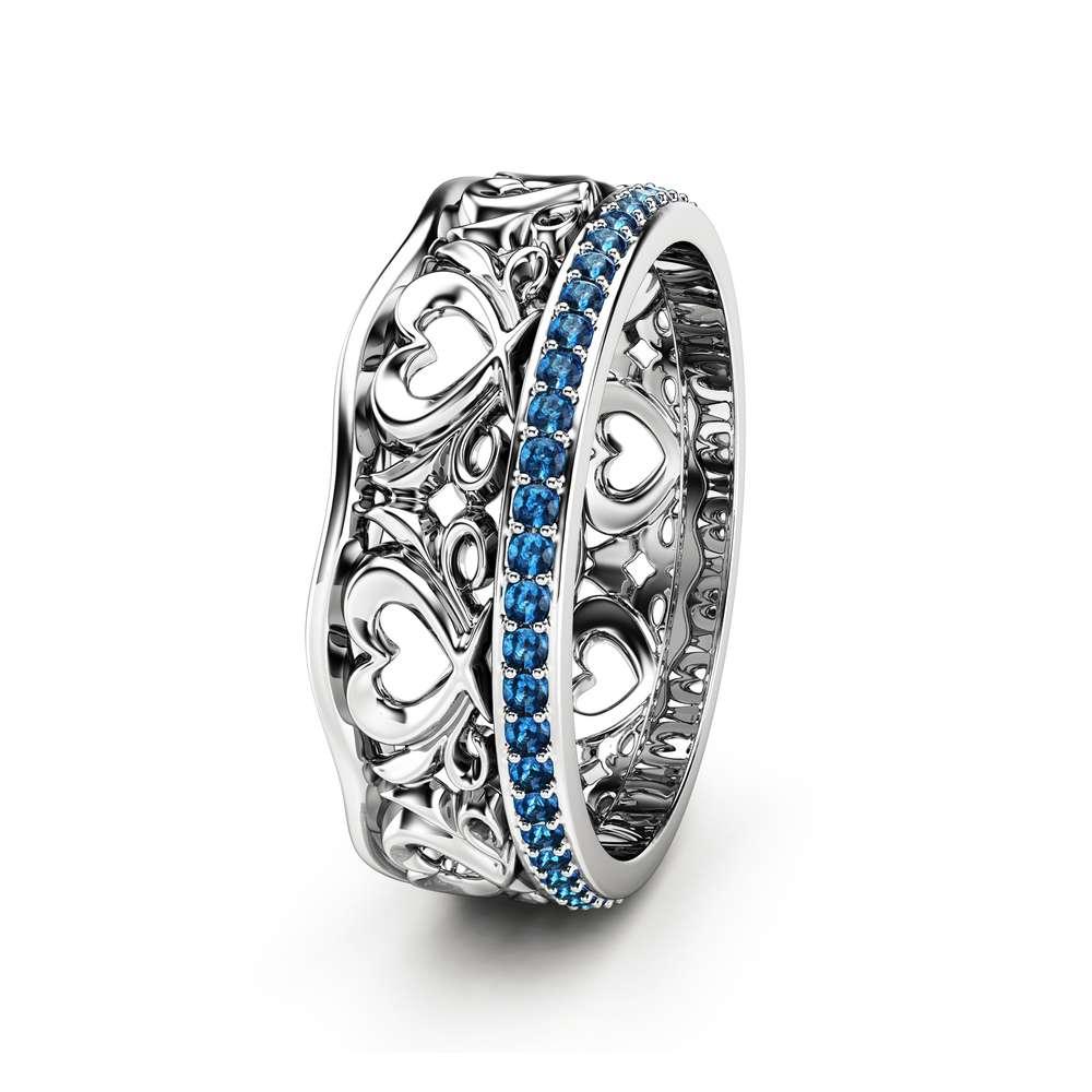 Blue Diamond Wedding Band Unique Wedding Ring Gold Wedding Ring