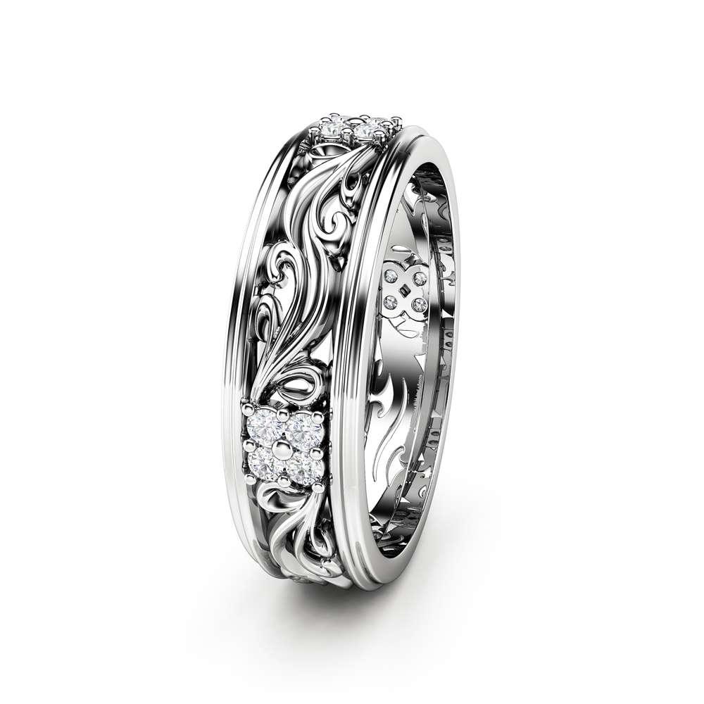 Women Wedding Band Unique Wedding Ring Diamond Wedding Band