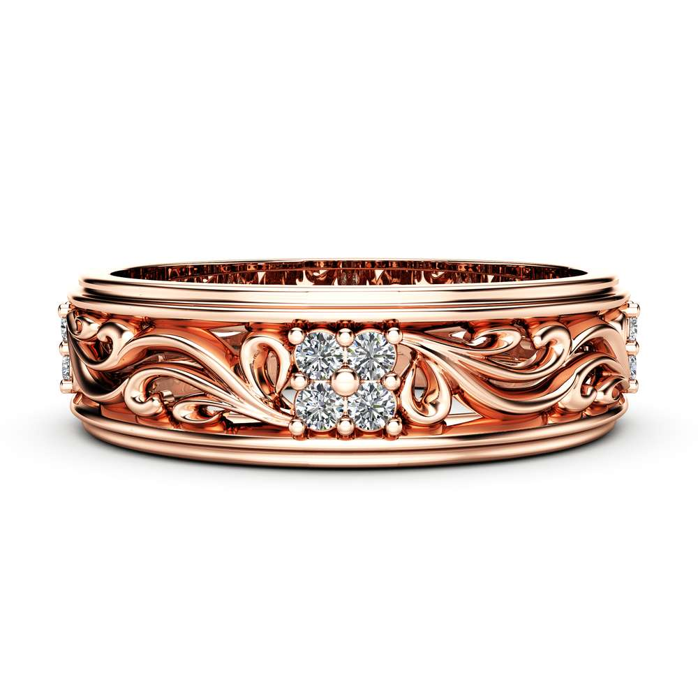Diamond Wedding Band Rose Gold Wedding Band Women Wedding Band