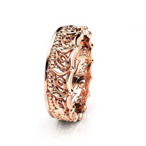 Unique Wedding Band Women Wedding Band Rose Gold Wedding Band