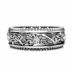 Art Deco Wedding Band Women Wedding Ring Diamond Wedding Band