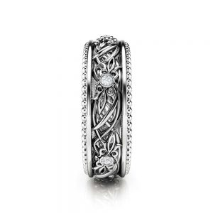 Art Deco Wedding Band Women Wedding Ring Diamond Wedding Band
