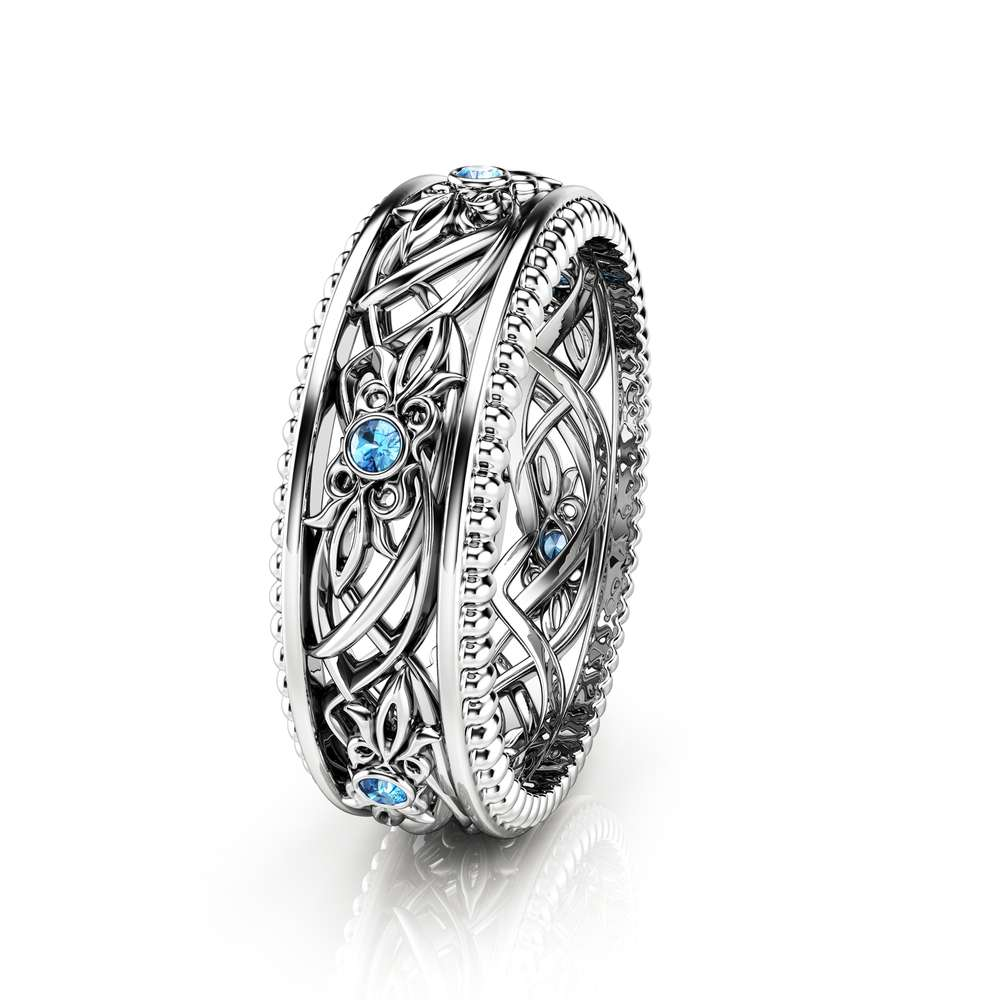 Blue Diamond Wedding Band Art Deco Wedding Band Women Wedding Ring