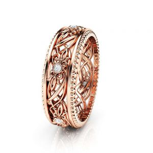 Art Deco Wedding Band Women Wedding Ring Rose Gold Wedding Band