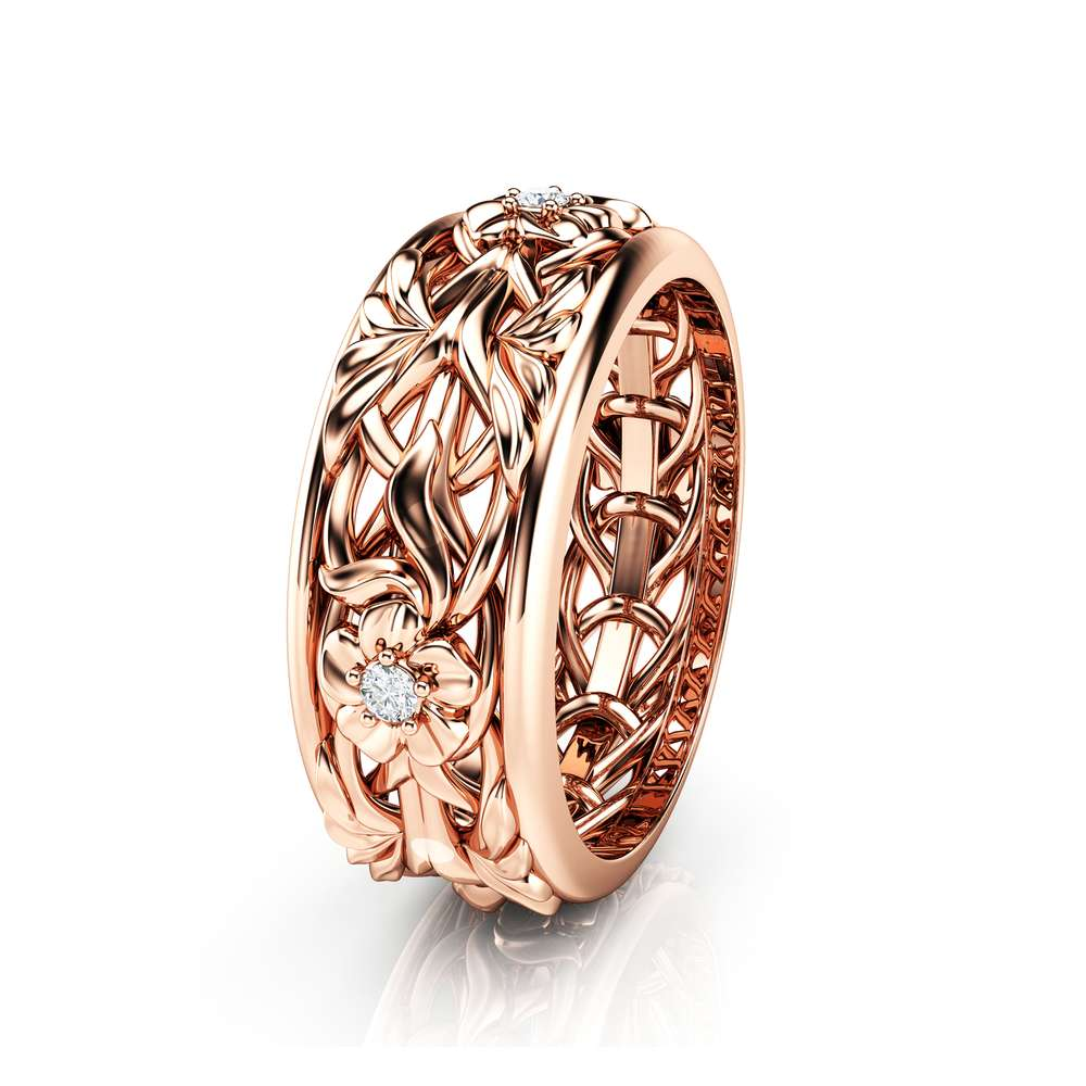Rose Gold Wedding Band Blue Diamond Wedding Band Women Wedding Ring For Her