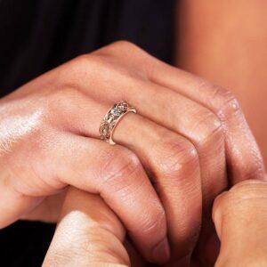 Rose Gold Wedding Band Blue Diamond Wedding Band Women Wedding Ring