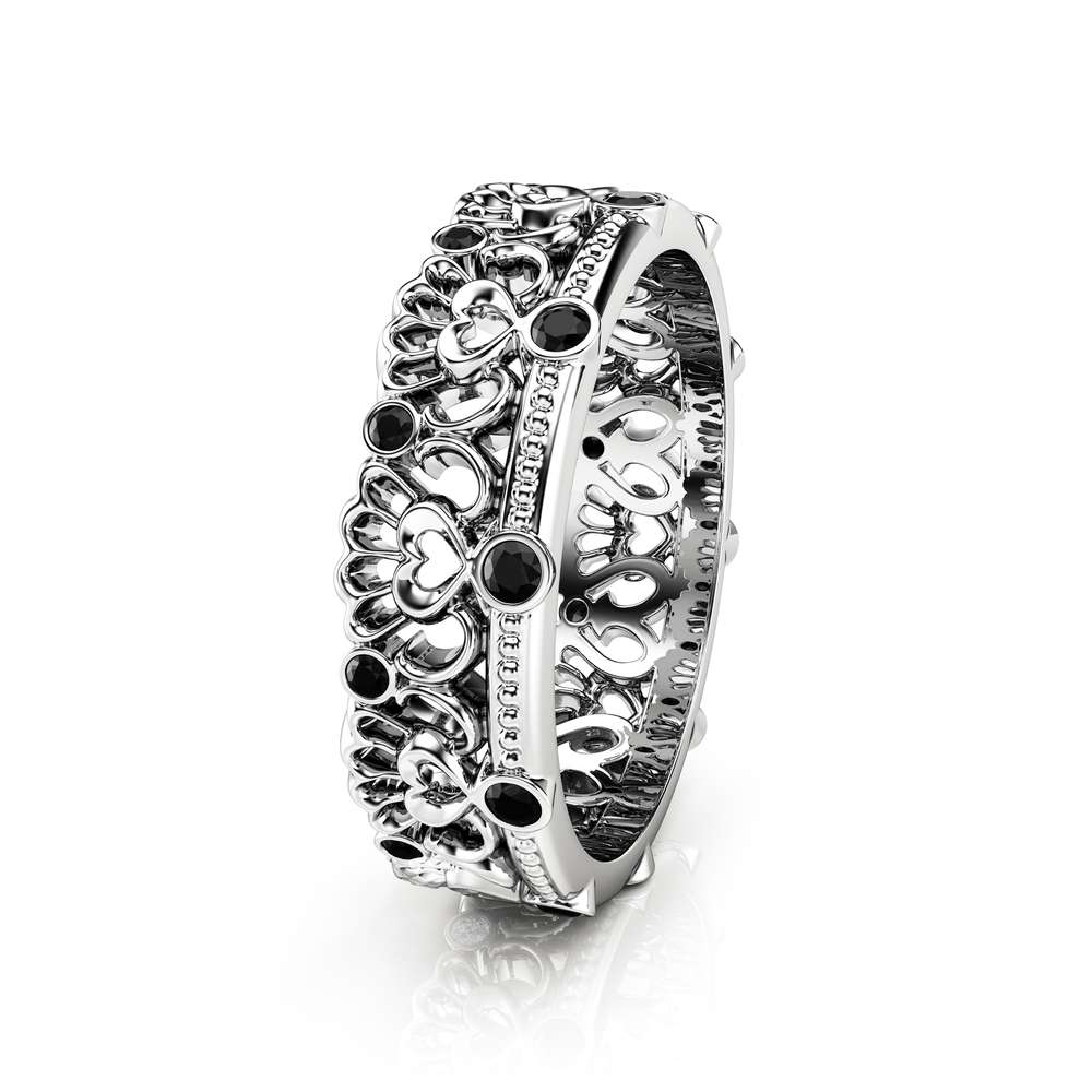 Black Diamond Wedding Band Unique Wedding Band Women Wedding Band