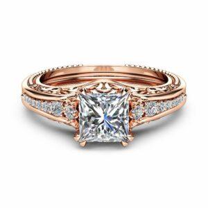 Square Moissanite Engagement Ring 14K Rose Gold Filigree Ring Princess 1.7CT Moissanite Engagement Ring