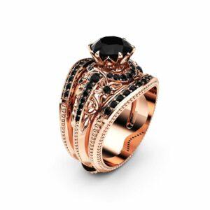 Black Diamond Engagement Ring Guard Set 14K Rose Gold Engagement Ring Natural Black Diamond Ring Set