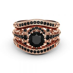 Black Diamond Engagement Ring Guard Set 14K Rose Gold Engagement Ring Natural Black Diamond Ring Set