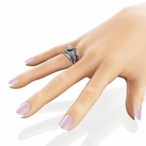 Moissanite Engagement Ring Guard Set Unique 14K White Gold Rings Natural Side Diamonds Bridal Set
